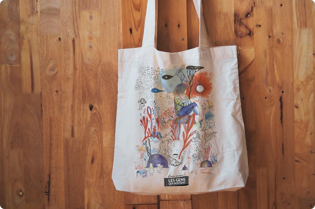 flocage-sac-tissu-les-gens-qui-doutent - illustration Carole Chaix