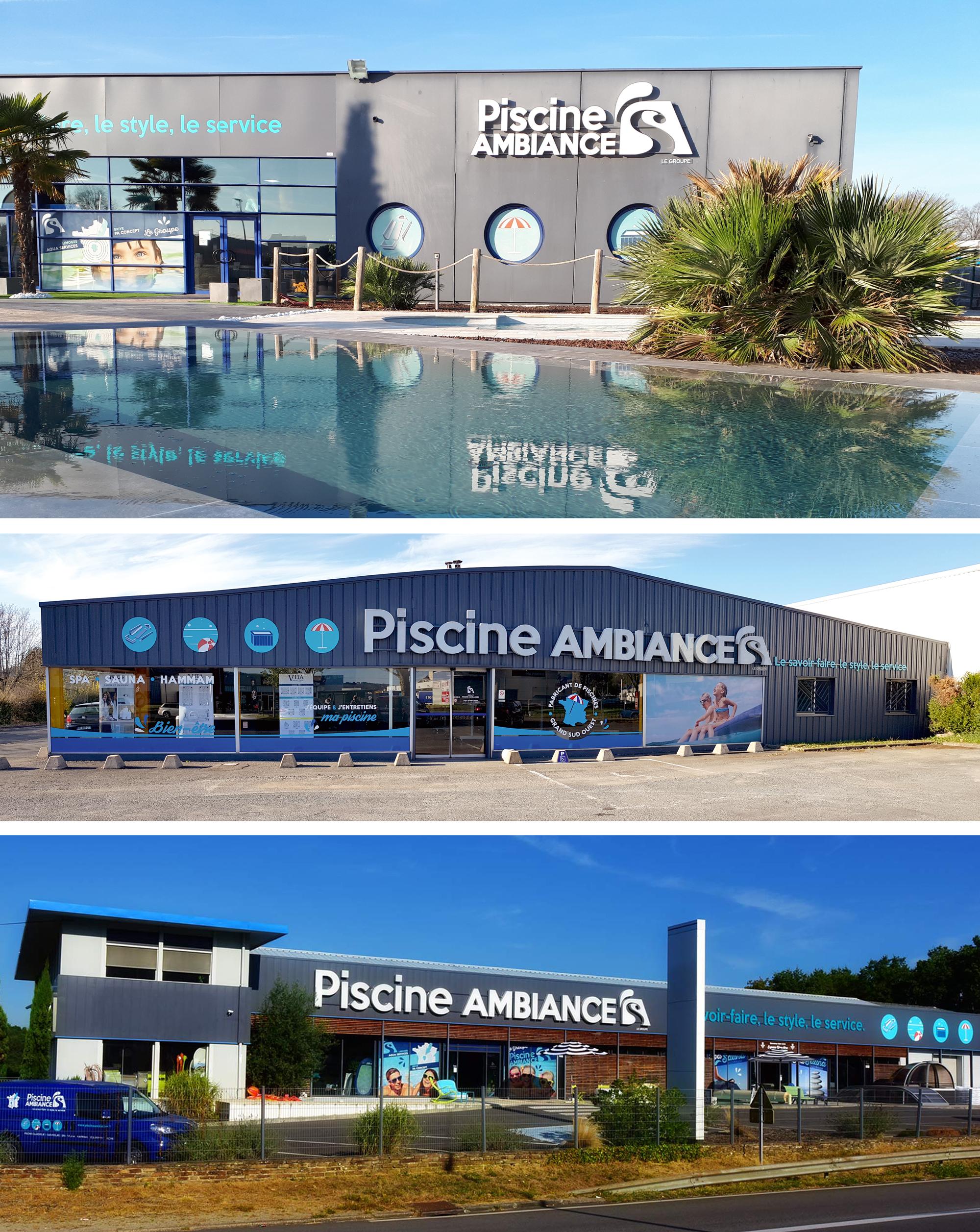Enseignes et signalétique magasins Groupe Piscine Ambiances Limoges Brive Périgueux